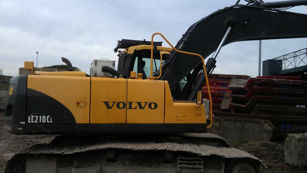 Recycling plant Volvo EC210CL excavator with Large Arctic Air cabin protection system.